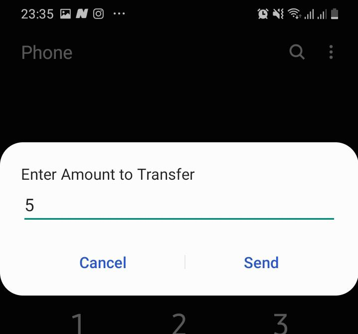 Airtime Transfer amount