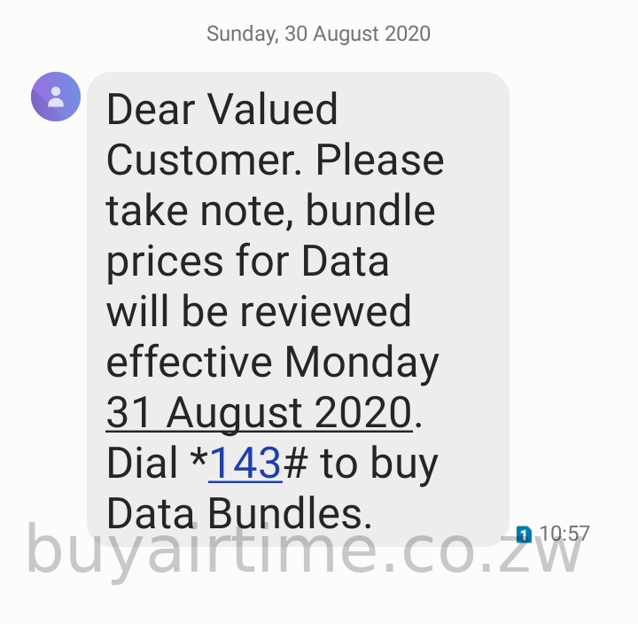 Econet Bundle Price Increase SMS