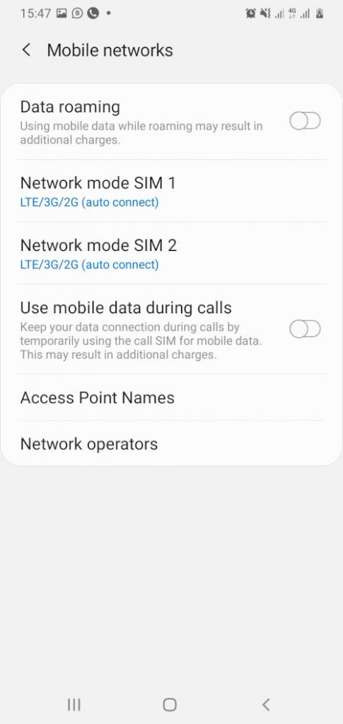 Android Mobile Networks screenshot