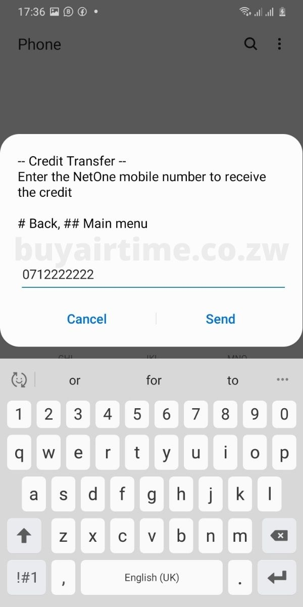 NetOne Airtime Recipient Number